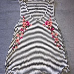 Tank Top with Stripes and Embroidered Flowers